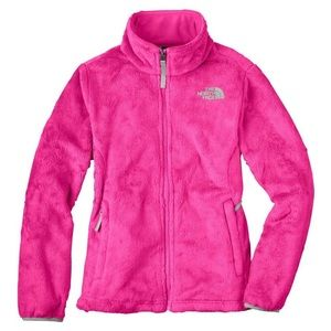 North Face Pink Fuzzy Zip Up Jacket